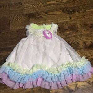 Summer neon ruffle halter dress
